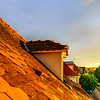 Orange tile roofs of calm old quarter in Strasbourg