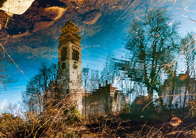 St.Johannes Nepomuk church in little german city Kehl, reflection in the water