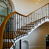Old spiral staircase in classic russian manor style