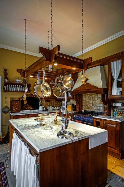 Beautiful kitchen old-style interior with wood furniture