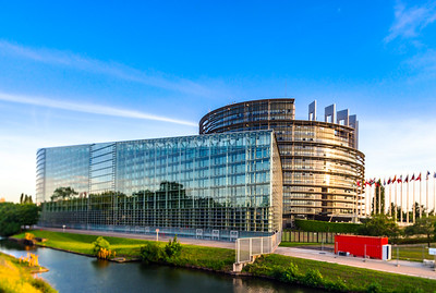 Parliament European building in Strasbourg, sunset time