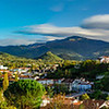 Panoramic view to old medieval castle and beautiful autumnal valley, sunset, Foix