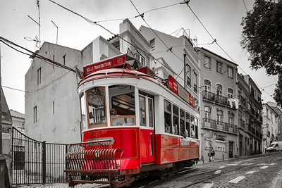 Editorial: 8th June 2017: Lisbon, Portugal:  Classical colorized touristic tram on the street, perspective view