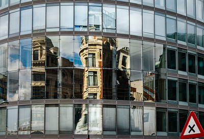 Abstract reflections in big glass wall of modern building, high resolution panoramic view