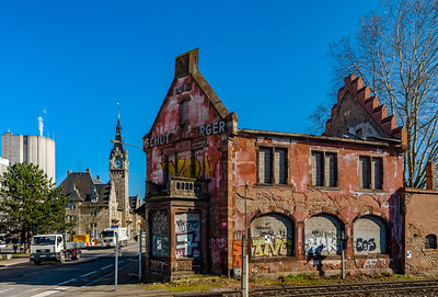Editorial: 14th March, Strasbourg, France. Old abandoned ruined brick house near insdustrial zone