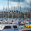 Editorial: 20th September 2017: St-Malo, France. Many yachts in the harbor. Panoramic high resolution view