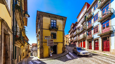 Colorful decorated facades of traditional portugal street, panoramic view