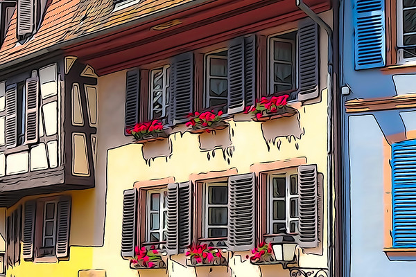 Traditional old french city street view with watercolored and outlined filtering