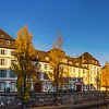 Strasbourg city panoramic view, autumnal colorful sunset