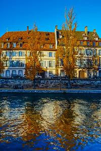 Beautiful colorful sunset in autumnal Strasbourg, cityscape