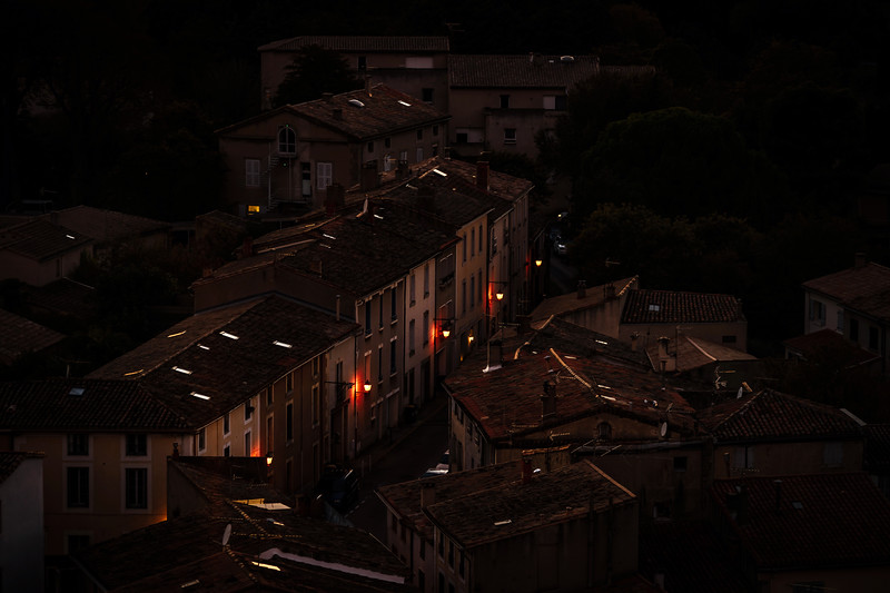 Night Carcassonne aerial street view, line of lantern