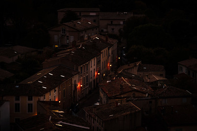 Night Carcassonne aerial street view, line of lantern
