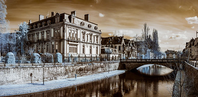Old buildings in Strasbourg, infrared street view