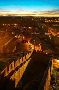 Aerial view of Carcassonne from the medieval fortress, early night