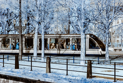 Tram in Strasbourg infrared view