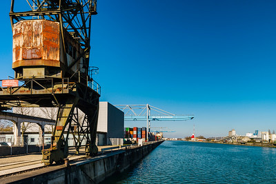 Strasbourg cargo shipping port terminal, sunny day with bluew sky