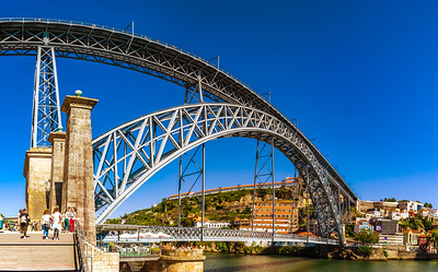 Editorial: 6th June 2017: Porto, Portugal. Beautiful steel bridge of St. Luis panoramic view
