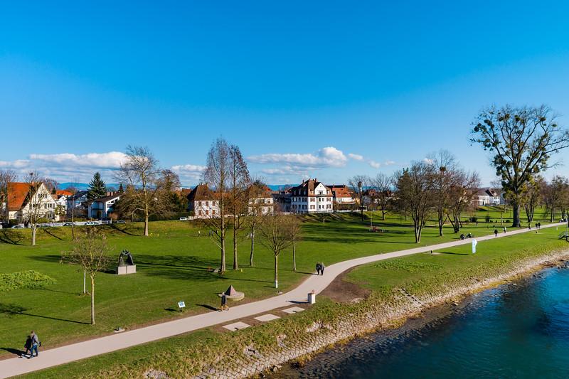 Beautiful spring park on riverside, Rhin, Kehl, Germany