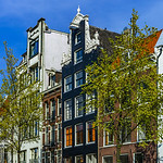 Classic city houses in Amsterdam, street view
