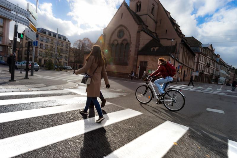 Autumnal street view of Strasbourg city