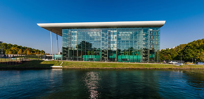 Comfortable office building on the riverside, glass and steel