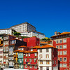 Colorful miniature tilt-shift view of old city center, Porto, Portugal