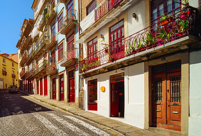 Colorful decorated facades of traditional portugal street