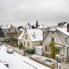 Snow-covered roors of old quarter in Strasbourg after snowfall