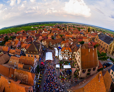 Aerial drone view of music festival in Dambach-la-ville, Alsace, France