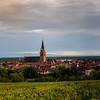 Rainbow after the rain over the lovely villages of Alsace