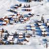 Beautiful winter weather on ski resort in high mountains