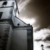 Majestic old church skyward, Alsace, Ottrott, France