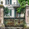 Old house gates with cast-iron lattice