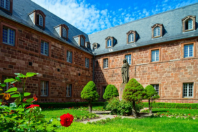 Architecture of Mont Sainte-Odile abbey in Alsace, France