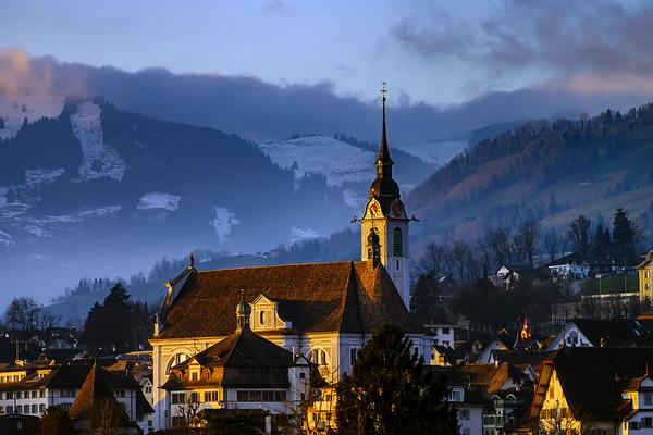 Beautiful sunset over the village Schwyz