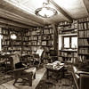 Vintage interior of personal bibliotek, calm and comfort indoor place