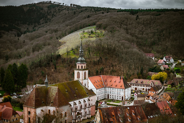 Medieval abbey church in Andlau, Alsace, France, aerial view