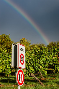 Speed sign 30 in vineyards with rainbow on background