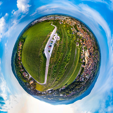 Spherical panoramic view like a planet of Obernai, Alsace, France