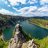 Panoramic landscape. View from the drone of the White Lake in the Vosges, Alsace. Beautiful cliffs, gorgeous nature of the national park.