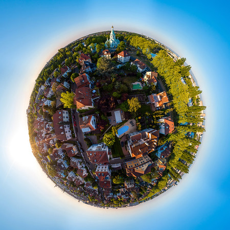 Abstract image of a small planet. Taken from the drone. Circular panorama.