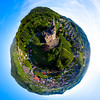 Little planet ball view of Schwartzwald with old castle Burg Rodeck