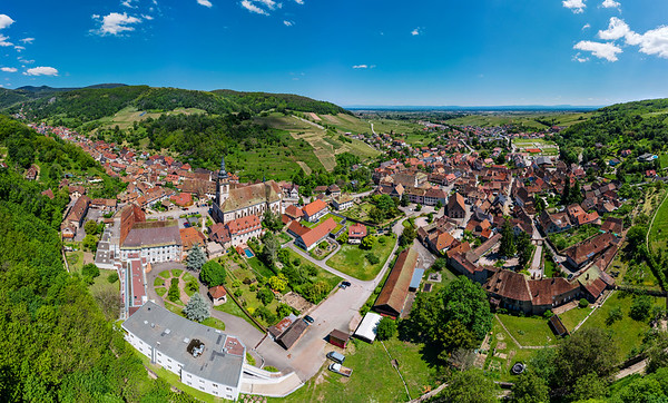 Panoramic view of the stunning village Andlau in Alsace.