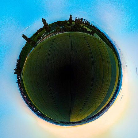 Sphere panoramic view of green fields, evening, Alsace, France,
