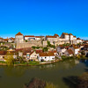 Aerial drone  panoramic view of Pesmes village in Burgundy