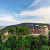 Medieval abbey Mont-Saint-Odile on the top of mountain, aerial view from drone, Alsace, France