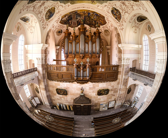 Majestic interior of Church Saint Maurice in Ebersmunster, aerial panoramic spherical view