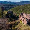Medieval castle Dreistein in Alsace. Remains, ruins.