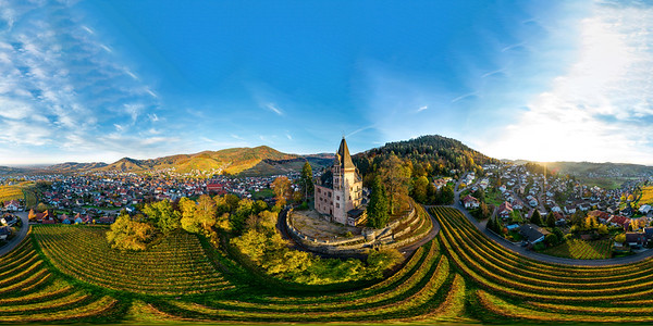 Colorful landscape 360-degree panoramic aerial view of little village Kappelrodeck in Black Forest mountains. Beautiful medieval castle Burg Rodeck.