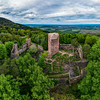 Medieval Castle Landsberg in Vosges, Alsace. Aerial view of the castle ruins, filmed from a drone.